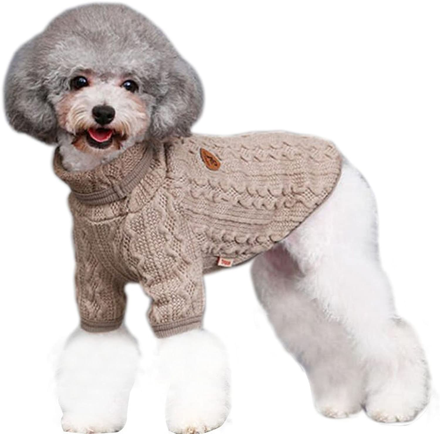 Bolbove Classic Cable Knit Turtleneck Sweater Small Dogs & Cats Knitwear Cold Weather Outfit (Large, Beige)