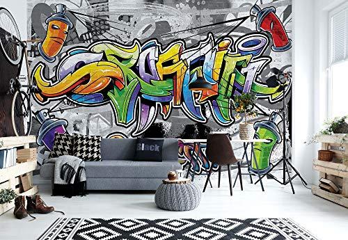Graffiti Street Art - Wallsticker Warehouse - Fototapete - Tapete - Fotomural - Mural Wandbild - (2295WM) - XXXL - 416cm x 254cm - VLIES (EasyInstall) - 4 Pieces