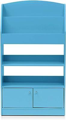 Furinno Magazin/Bücherregal mit Spielzeugschrank für Kinder, holz, Hellblau, 24 x 24 x 110.01 cm