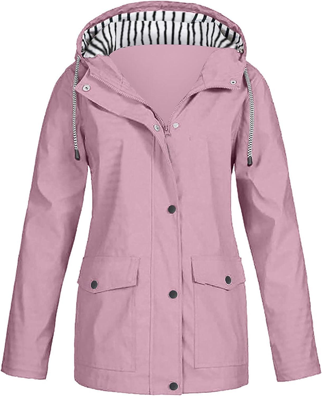 Raincoats For Women Hooded Jacket Women Fall Solid Rain Jacket Outdoor Raincoat Windproof