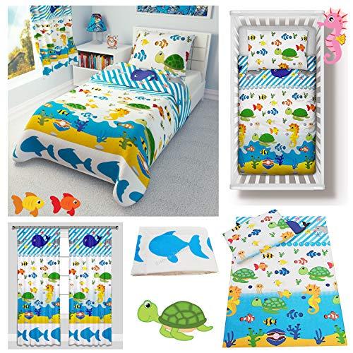 Sea Animals Baby Bedding Set for Cot Bed 4-Piece incl Duvet + Pillow + Duvet Cover + Pillowcase 100% Cotton (100x135 cm)