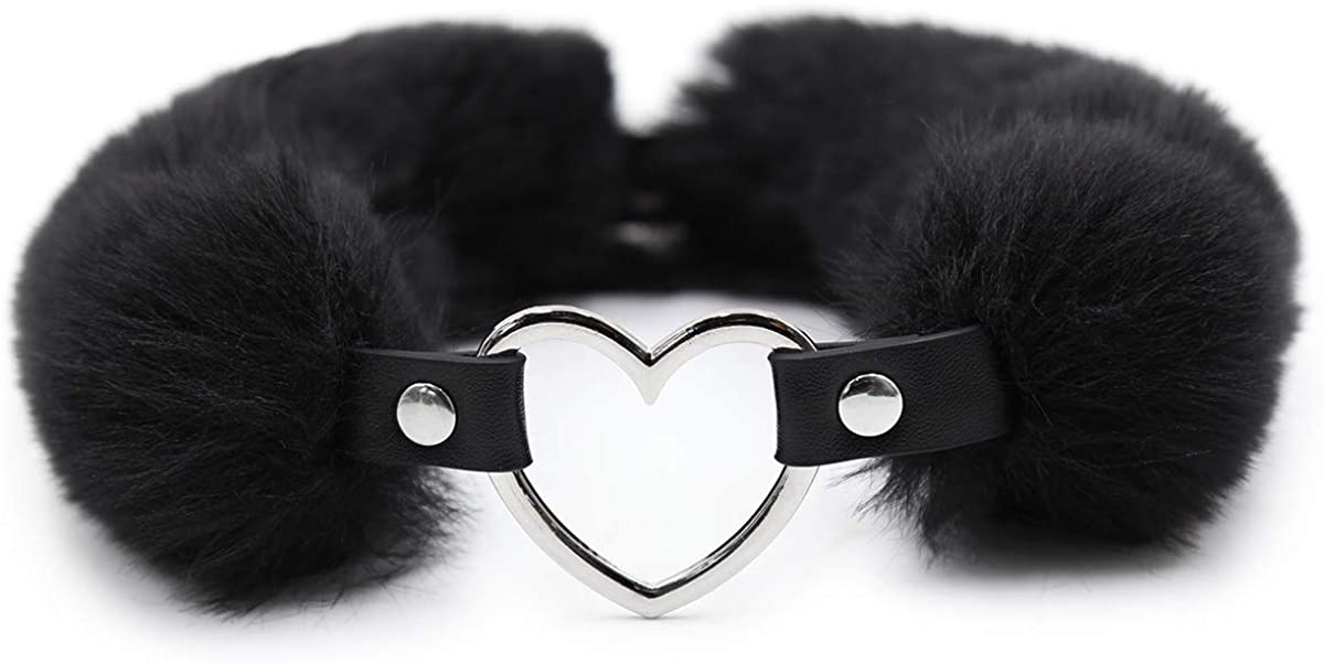 Succuba Detachable Fluffy Heart Pendant Choker Necklace Collar for Women and Men