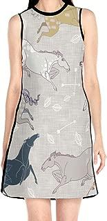 Women's Sleeveless Dress Wild Horses Damask Large Fashion Casual Party Slim A-Line Dress Midi Tank Dresses