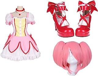 HALLE SHOP---魔法少女まどか☆マギカ まどマギ 鹿目 まどか  コスプレ衣装+ウィッグ+靴 コスチューム ハロウィン、クリスマス、イベント、お祭り仮装など (女性M, 靴サイズ(注文してからメールでお教えてください。)