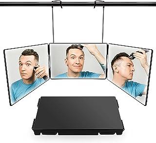 三面鏡 化粧鏡 化粧ミラー セルフカット 鏡 三面 鏡 折りたたみ 31*19.6cm 角度調整 高さ調節可 安定して使い 工具不要 飛散防止 HD鏡面