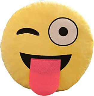 marrone 35 x 33 x 10 cm ML Cuscini Emoticon cuscino rotondo emoticon peluche ricamato con gigno