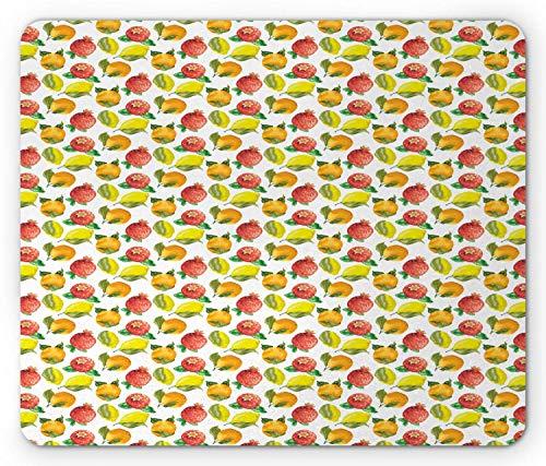 Fruit Mouse Pad, Vitamin C Pattern of Seasonal Orange Pomegranate Lemon, Standard Size Rectangle Non-Slip Rubber Mousepad, Marigold Yellow Dark Salmon Fern Green