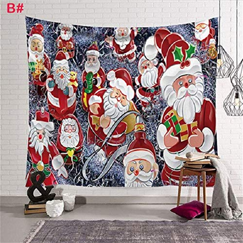 HYYCS Weihnachtsschmuck Weihnachten Tapisserie Wandbehang Duschvorhang Tagesdecke Werfen Art Home Decor-148x200cm
