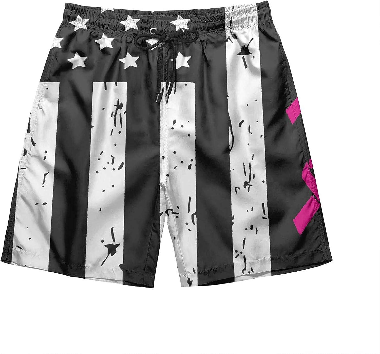 HSJOTT Men's Swim Trunks Print Beach Board Shorts Quick Dry Swim Shorts with Pockets