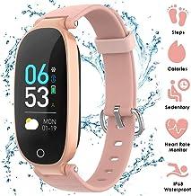 AGPTEK Montre Connectée Femme Tracker d'Activité avec Cardiofréquencemètre Podomètre Calories Sommeil - Smartband Bluetooth 4.0 Bracelet Intelligent Étanche IP68 - pour iOS 8.0 Android 4.3-Or Rose
