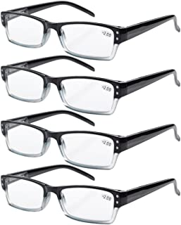 Eyekepper 4-pack Spring Hinges Rectangular Reading Glasses Black +1.25