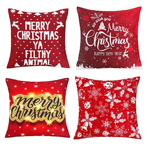 Komake 4 fundas de cojín navideñas con estampado en caliente, color blanco, para sofá, coche, cama, decoración de fiestas, lino [45 x 45 cm] (rojo)