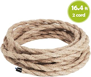 Rope Light Cord, 16.4ft Linen Covered Copper Wire 18/2 Round Vintage Twisted Cloth Cable Antique Industrial Lamp Rope for DIY Pendant Light (2-core)