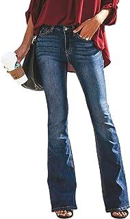 Minetom Mujer Pantalones Acampanados Vaquero Skinny Push Up Pantalones Elástico Jeans Cintura Alta Denim Mezclilla Pants
