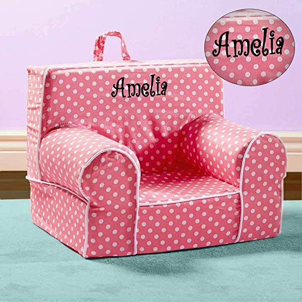 Kids Anytime Chair Personalized Pink With Polka Dots