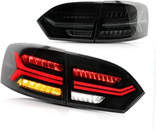 YUANZHENG LED Sequential Tail Lights for [Volkswagen Jetta Sagitar 6th Gen (A6, 5C6) Sedan 2011 2012 2013 2014] with Reverse Lights Integration YAB-ST-0215AH, Red & Smoke