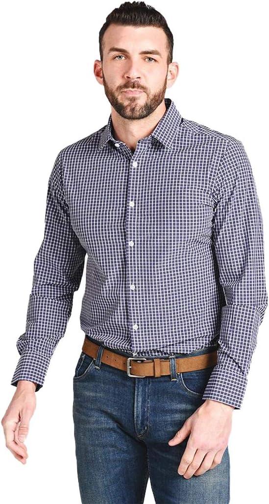 Mizzen + Main Men's Cunningham Navy Gray Check Slim Fit Dress Shirt