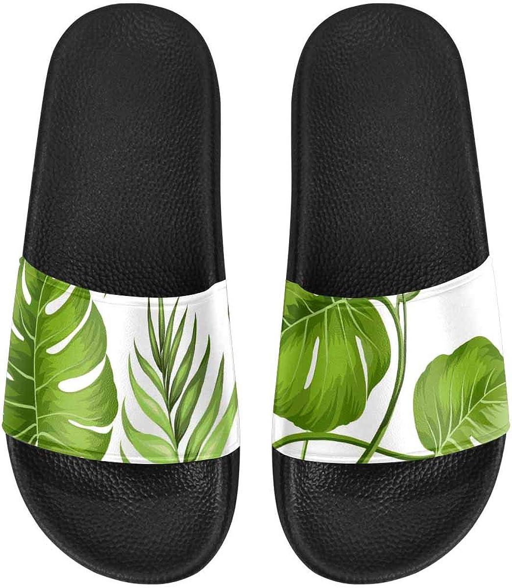 InterestPrint Women's Casual Slide Sandals for Indoor Outdoor Skull and Flower of The Dead