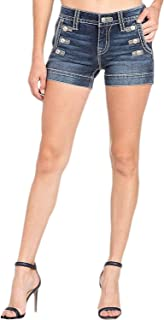 Miss Me Women's Mid-Rise Sailor Shorts in Dark Blue