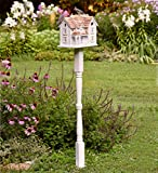 Plow & Hearth Kingsgate Cottage Lighted Birdhouse and Pole Set, White