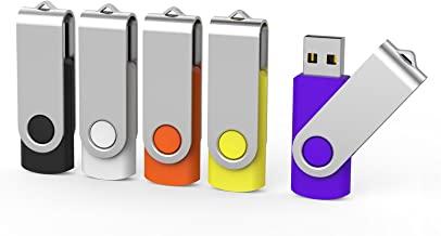 Aiibe 5 Pack 32 GB Flash Drive 32GB USB Flash Drive USB 2.0 Memory Stick Thumb Drive 32GB Multi Pack USB Drives (32G, 5 Mixed Colors: Black Red Yellow White Purple)