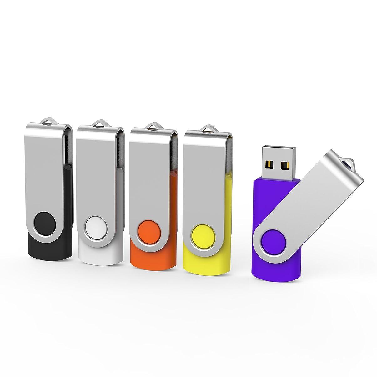 Aiibe 5pcs USB Flash Drive 4gb Pen Drive Thumb Drives (5 Colors: Black Red Yellow White Purple)