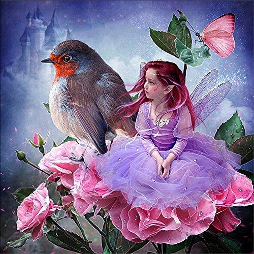 5D Broderie Diamant Peinture, veyikdg Petite Belle Fille Grand Oiseau Fleur Motif Strass Collé Peintures DIY Cristal Peinture Point De Croix Artisanat 30X30cm Décoration de La Maison (Mr)