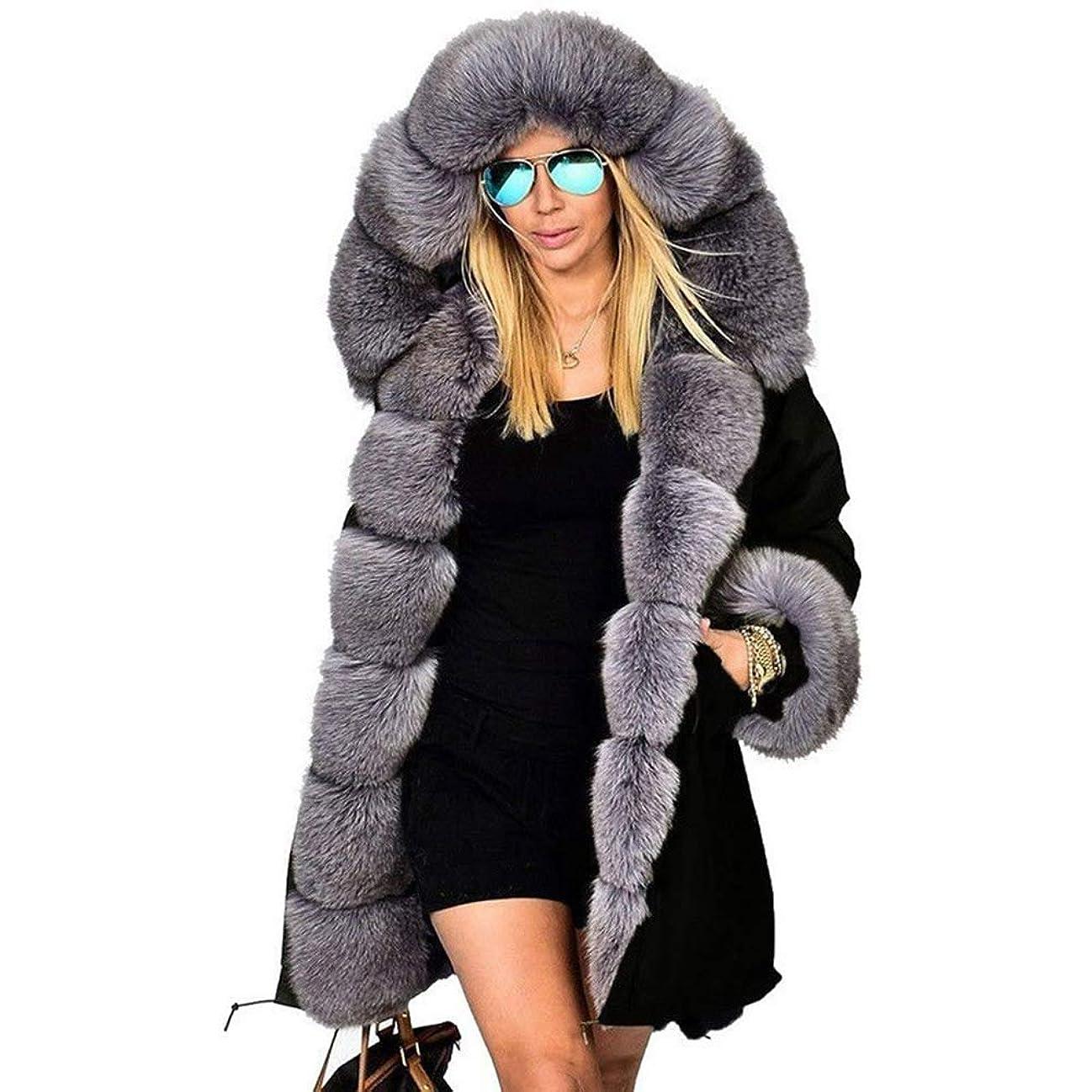 合成換気するボーダーファッションウィメンズジャケット女性ウォームコートフェイクファーコットンオーバーコート女性ロングフードコートパーカー,XXL