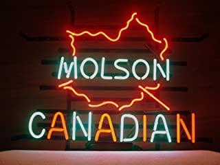 QUEEN SENSE Molson Canadian Real Glass Neon Light Sign Home Beer Bar Pub Recreation Room Game Room Windows Garage Wall Sign H93X
