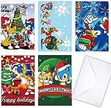 GTOTd 5 tarjetas de Navidad con sobres, tarjetas de Navidad Sonic The Hedgehog, para nios, negocios, formales, baby shower y todas las ocasiones (en blanco en el interior/trasero)