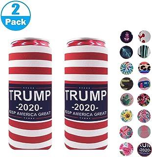 2pcs Neoprene Slim Beer Can Cooler Tall Stubby Holder Foldable Stubby Holders Beer Cooler Bags Fits 12oz Slim Energy Drink & Beer (National flag)