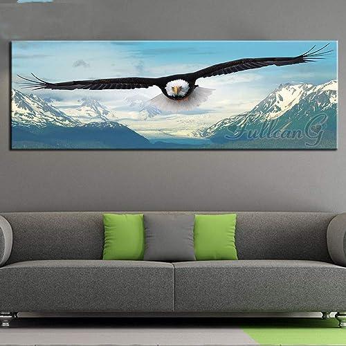diseño único Animales de bordado en mosaico de 5D Diy Diy Diy Diamond pintura nieve Montaña y águila,50X150cm  bienvenido a orden