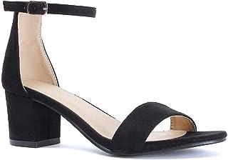 f9560e04e03 Bella Marie Women s Strappy Open Toe Block Heel Sandal