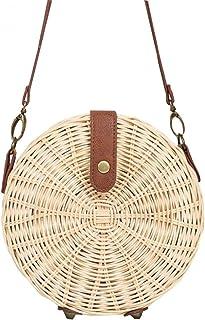 GSERA Handgemachte Gewebte Rattan Tasche Stricken Stroh Frauen Taschen Beach Circle Handtaschen Sling Umhängetaschen Clutc...