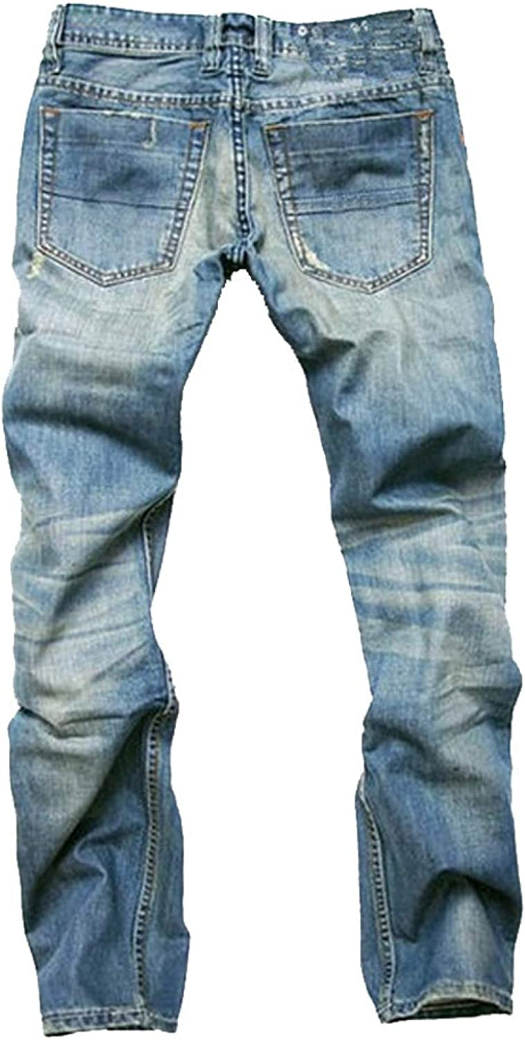 Huntrly Men's Jeans Fall European and American Ripped Holes Washed Distressed Jeans