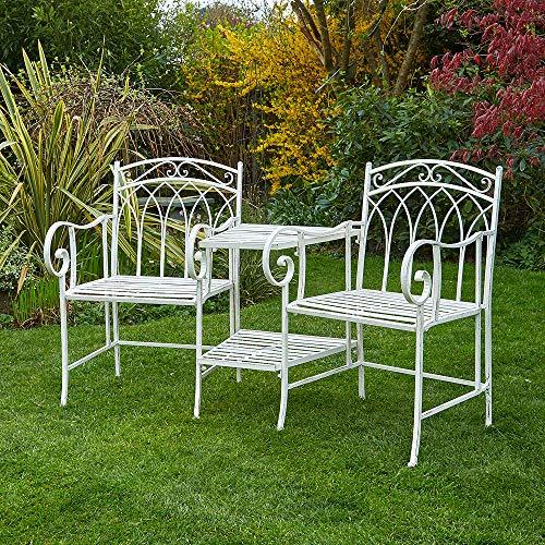 BFW Jasmine Cream Garden Bench Duo Love Seat Companion Chair Metal