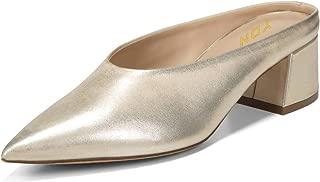Women Retro Pointed Toe Mules Pumps Block Mid Heel Slip On Slide Sandal Clog Shoes