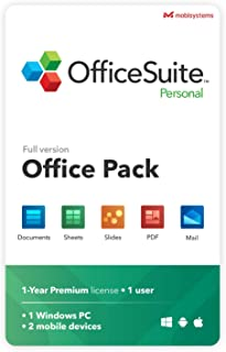 OfficeSuite Personal Compatible with Microsoft® Office Word® Excel® & PowerPoint® and Adobe® PDF - 1 user annual license f...