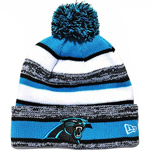 New Era 100% Authentic, Ver Rare Discontinued Carolina Panthers On Field Side Line Sport Knit Pom Beanie