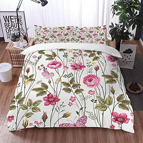 Mingdao Bedding Juego de Funda de Edredón -Patrón de Flores Florales con Rosas y Mariposas/Microfibra Funda de Nórdico (Cama 240 x 260 cm + Almohada 50X80 cm)