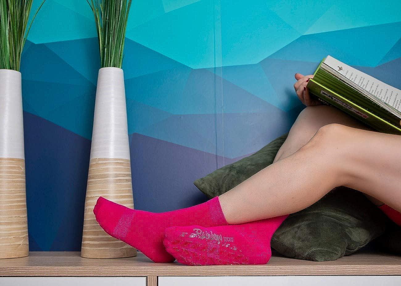 Women Men Colourful Cotton Non Slip Grip Socks ABS Rainbow Socks