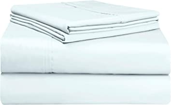 Pizuna Soft 500 Thread Count King Sheets Set Light Blue, 100% Long Staple Cotton Hotel Quality Sheets, Baby Blue Cotton Sa...