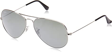 RAY-BAN RB3025 Aviator Large Metal Sunglasses, Silver/Grey Mirror, 62 mm