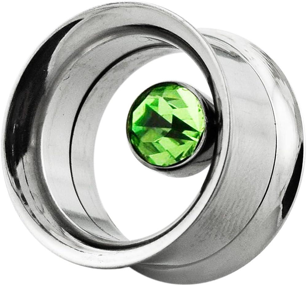 AtoZ Piercing Bezel Set Peridot Gemstone in Side Internally Threaded Double Flared Flesh Tunnel - Sold by Piece