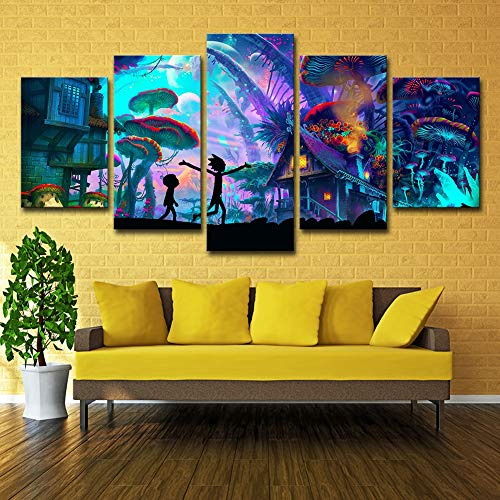ZEMER Wand-dekor Rick and Morty Poster Wandkunst Bild Leinwanddrucke Malerei 5 Panels Modern Für Kinderzimmer Home Decor,B,25x38x2+25x50x2+25x63x1