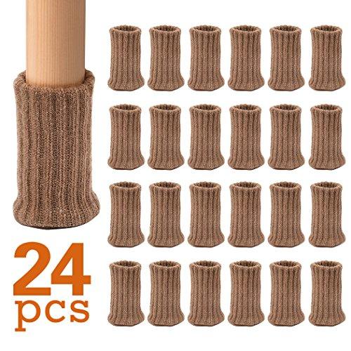 Ezprotekt Möbelsocken, 24er-Pack, gestrickte Möbelfüße, Stuhlbeinschoner, Stuhlbeine, rutschfeste Möbelschuhe, vermeiden Kratzer und Lärm, bewegen Sie sich einfach, Hellbraun