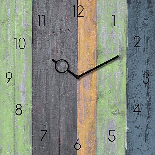 Wanduhr aus Glas, Colourful Wooden Planks, bunte Holzbalken-Optik, 30x30 cm von Eurographics