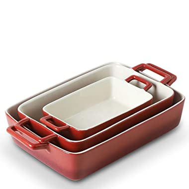 KOOV Bakeware Set, Ceramic Baking Dish, Rectangular Baking Pans for Cooking, Cake Dinner, Kitchen, Wrapping Upgrade, 12 x 8.5 Inches, 3-Piece (Gradient Red)