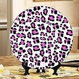 Piatti divertenti in bella pelle di leopardo rosa Piatti divertenti in ceramica Piatti divertenti in ceramica Piatto oscillante per la casa con espositore Decorazione Piatti economici per us