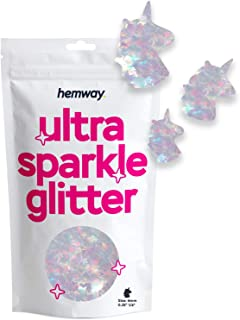 "Hemway Ultra Sparkle Glitter - 1/8"" 0.125"" 3mm - Unicorn Sparkle Glitter for Cosmetic, Nail, Body, Face, Arts, Crafts, Dec..."